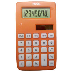 ROYAL X2 8 DIGIT DUAL POWER HANDHELD CALC