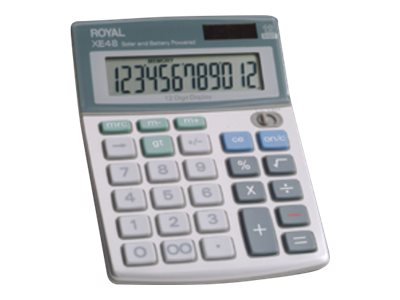 ROYAL XE48 12 DIGIT DUAL POWER HANDHELD CALC