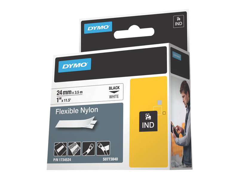 DYMO IND FLEXIBLE NYLON BLACK/WHITE 1