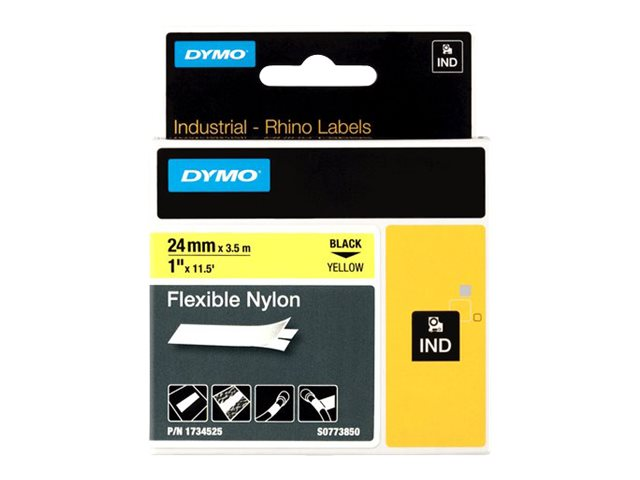 DYMO IND FLEXIBLE NYLON BLACK/YELLOW 1