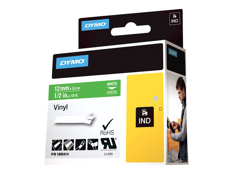DYMO IND VINYL LABELS BLACK/GREEN 1/2