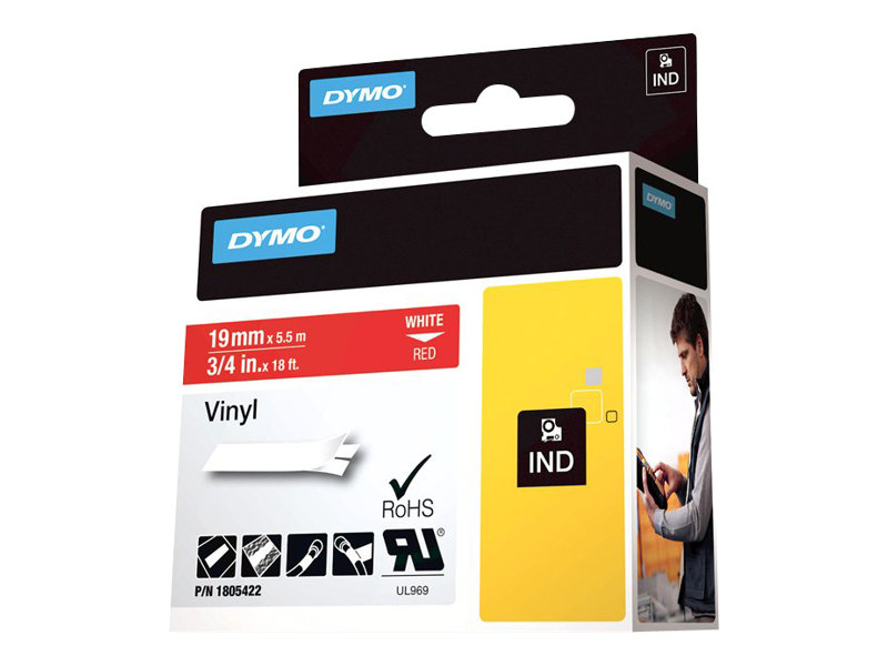 DYMO IND VINYL LABELS WHITE/RED 3/4