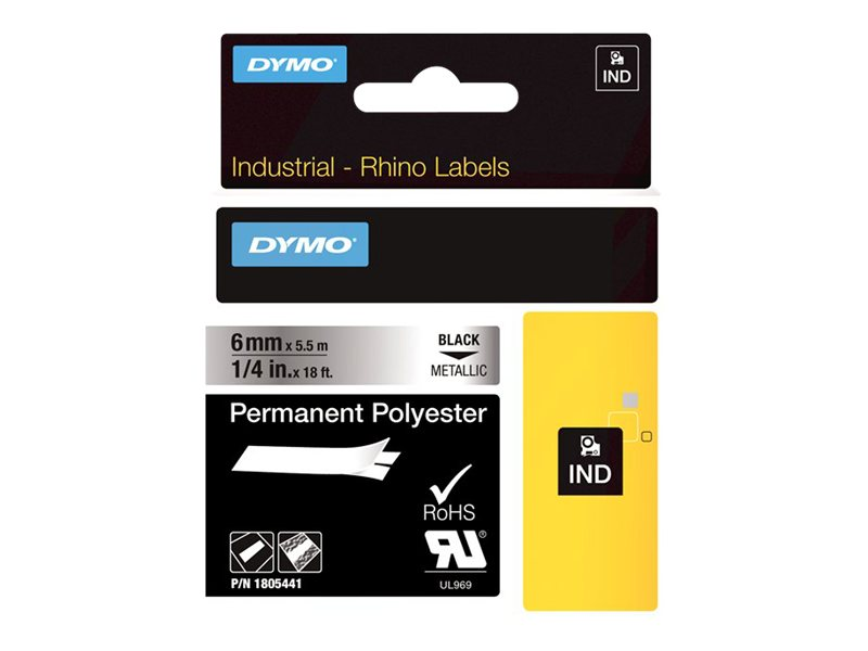 DYMO IND PERMANENT POLY BLACK/METALLIC 1/4