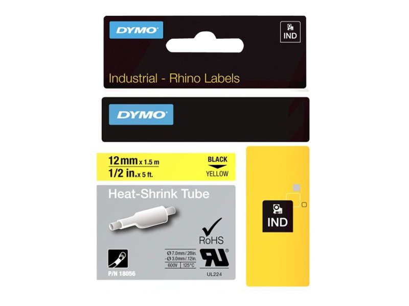DYMO IND HEAT SHRINK BLACK/YELLOW 1/2