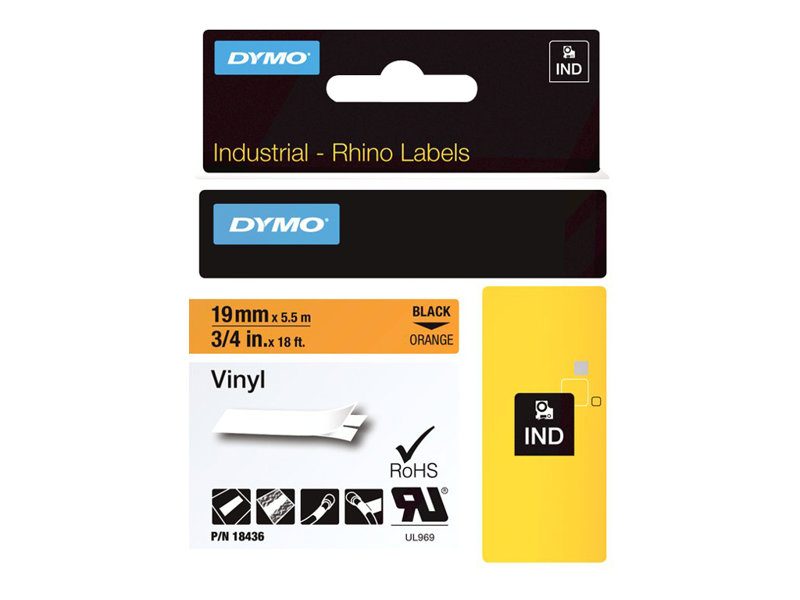 DYMO IND VINYL LABELS LQ-BLACK/ORANGE 3/4