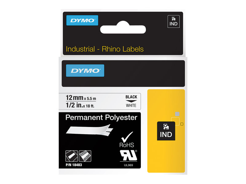 DYMO IND PERMANENT POLY BLACK/WHITE 1/2