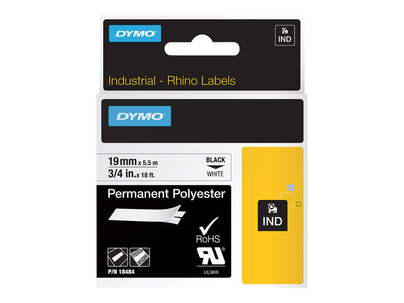 DYMO IND PERMANENT POLY BLACK/WHITE 3/4