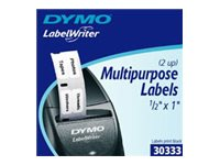 DYMO LW LABELS WHITE 1000 MULPURP 2UP 0.5