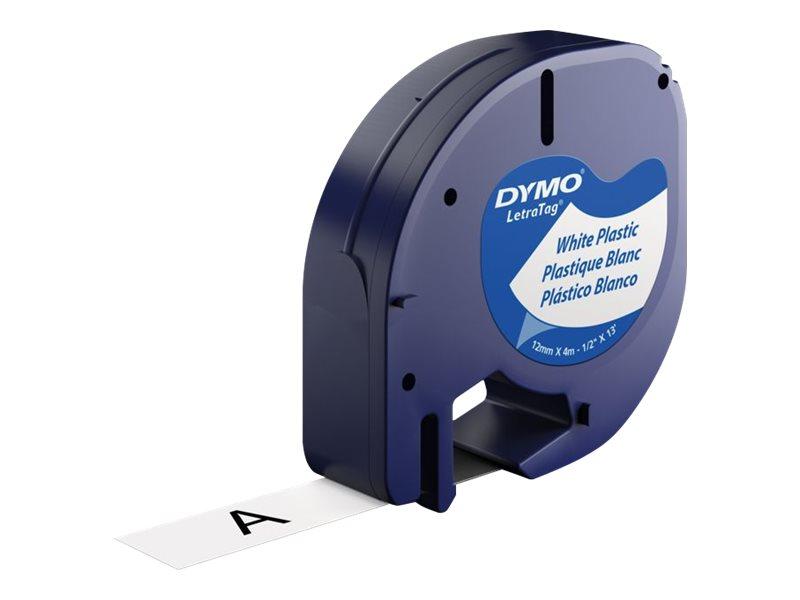 DYMO LT PLASTIC LABELS BLACK/WHITE 1/2