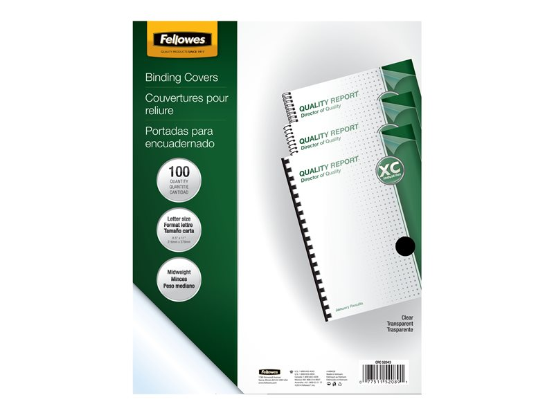 FELLOWES BINDING COVERS 100PK LETTER SIZE CLEAR