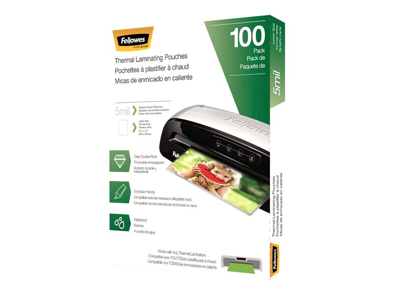 FELLOWES 5743501 LAMNATE 100PK 5MIL LETTER SIZE, 100 yield