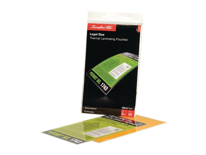 SWINGLINE LAMINATE POUCH 25PK 3MIL LEGAL SIZE