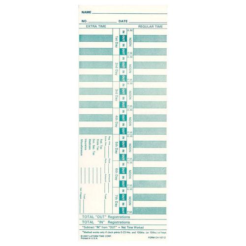 LATHEM 2126 (0-23HR) BX/1000 WEEKLY CARDS