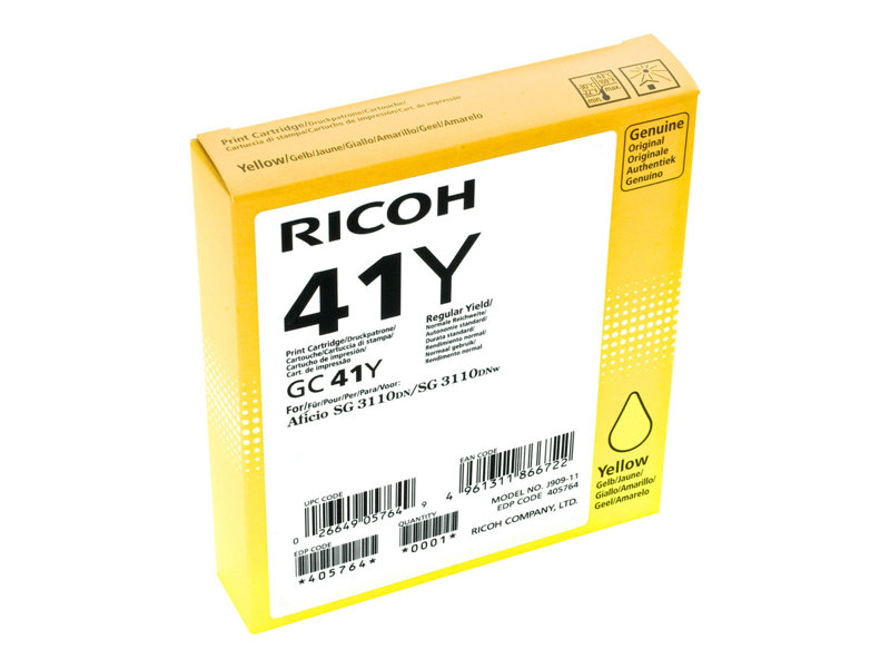 RICOH AFICIO SG3110DN GC41 SD YLD YELLOW INK, 2.2k yield