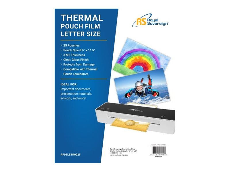 R SVRGN LAMINATE POUCH 25/PK 3MIL LETTER SIZE, 25 yield