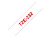 """BROTHER 1/2"""" TZE TAPE 12MM RED ON WHITE OEM Part: TZE232"""